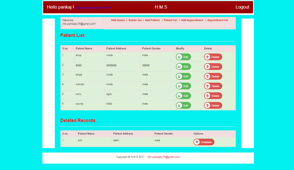 Download Hospital Management System Project on PHP